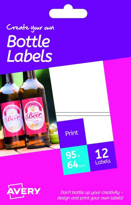 Avery HBL02 Bottle Labels, 95 x 64 mm, Permanent, 2 Labels Per Sheet, 12 Labels Per Pack