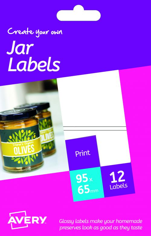 Avery HJJ01 Glossy Jar Labels, 95 x 64 mm, Permanent, 2 Labels Per Sheet, 12 Labels Per Pack