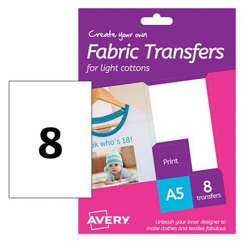 Avery HTT01 Fabric Transfers, 148 x 210 mm, Permanent, 1 Label Per Sheet, 8 Transfers Per Pack