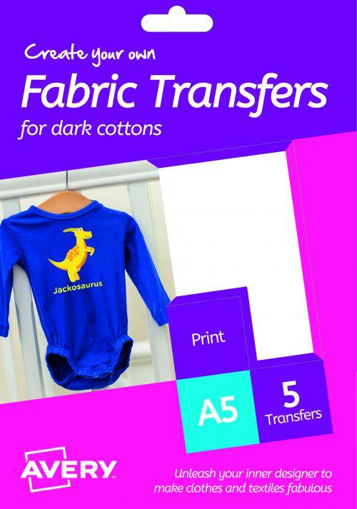 Avery HTT02 Fabric Transfers, 148 x 210 mm, Permanent, 1 Label Per Sheet, 5 Transfers Per Pack