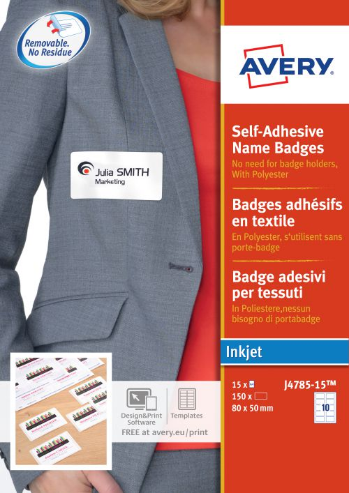 Avery J4785 Self-Adhesive Badge 80 x 50mm White Pack 150