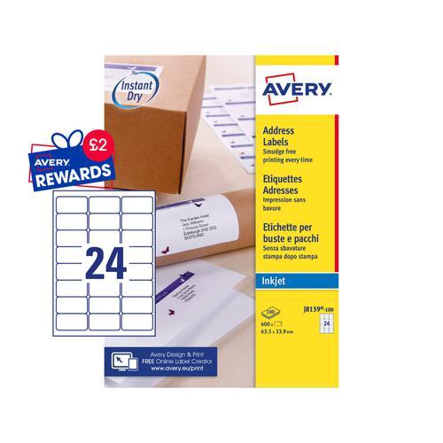 Avery Inkjet Address Label 63.5x34mm J8159-100 24 Per Sheet PK2400