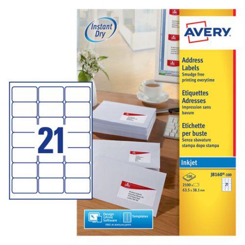 Avery Inkj Label 63.5x38.1mm 21 Per Sheet Wht (Pack of 2100) J8160-100