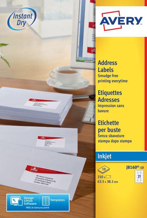 Avery J8160-10 Address Labels, 63.5 x 38.1 mm, Permanent, 21 Labels Per Sheet, 210 Labels Per Pack