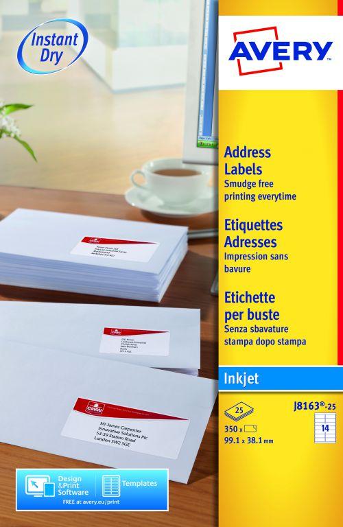 Avery Inkjet Address Labels 99x34mm J8163-25 14 Per Sheet PK350