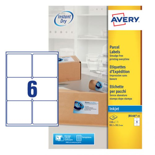 Avery J8166-25 Parcel Labels, 99.1 x 93.1 mm, Permanent, 6 Labels Per Sheet, 150 Labels Per Pack