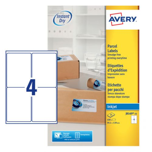 Avery Inkjet Parcel Labels 4 Per Sheet White (Pack of 100) J8169-25