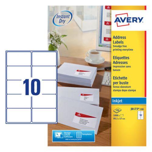 Avery Inkj Label 99.1x57mm 10 Per Sheet White (Pack of 1000) J8173-100