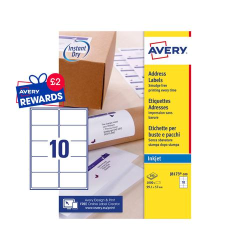 Avery Inkjet Address Label 99x57mm 10 Per A4 Sheet White (Pack 1000 Labels) J8173-100