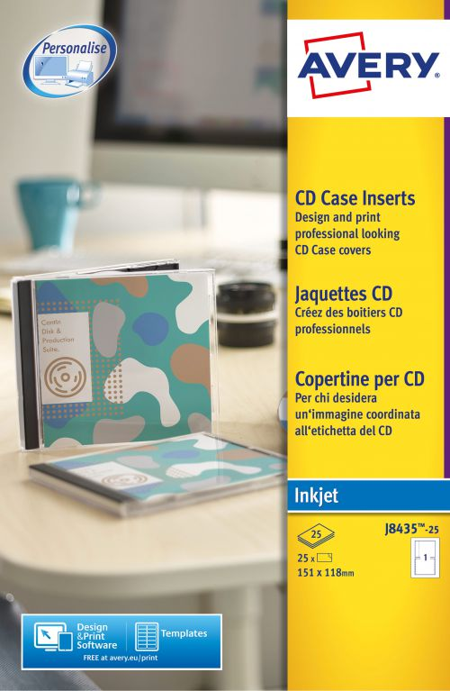 Avery CD Case Insert Inkjet J8435-25 (25 Labels)