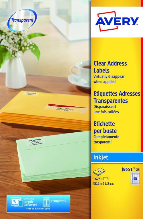 Avery Clear Mini Inkjet Label 38x21mm J8551-25 65 Per Sheet PK1625