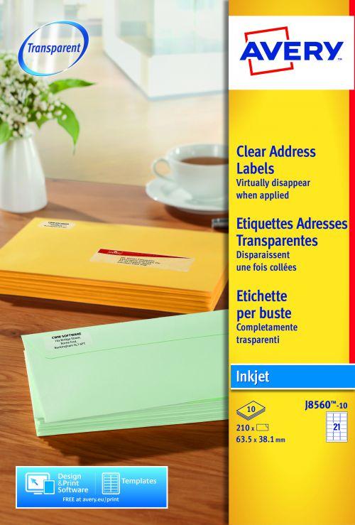 Avery J8560-10 Address Labels, 63.5 x 38.1 mm, Permanent, 21 Labels Per Sheet, 210 Labels Per Pack