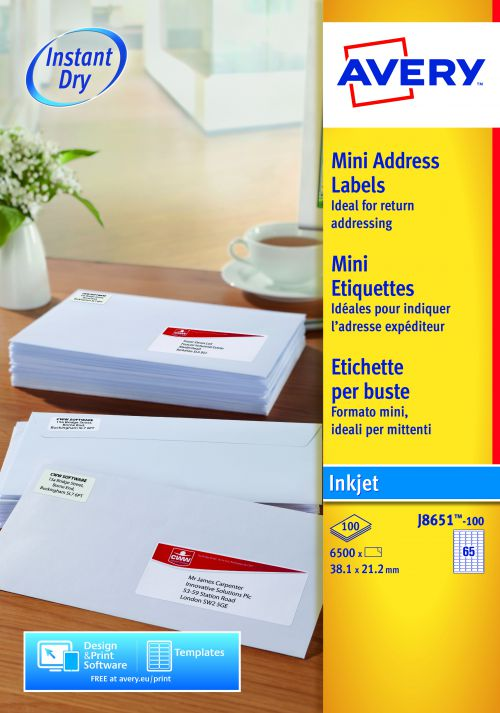 Avery Mini Address Labels Inkjet 65 per Sheet 38.1x21.2mm White Ref J8651-100 [6500 Labels]