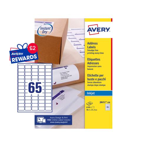 Avery Inkjet Labels 38.1x21.2mm 65 Per Page White 6500 Labels  Pack 100 Small Labels LA1035