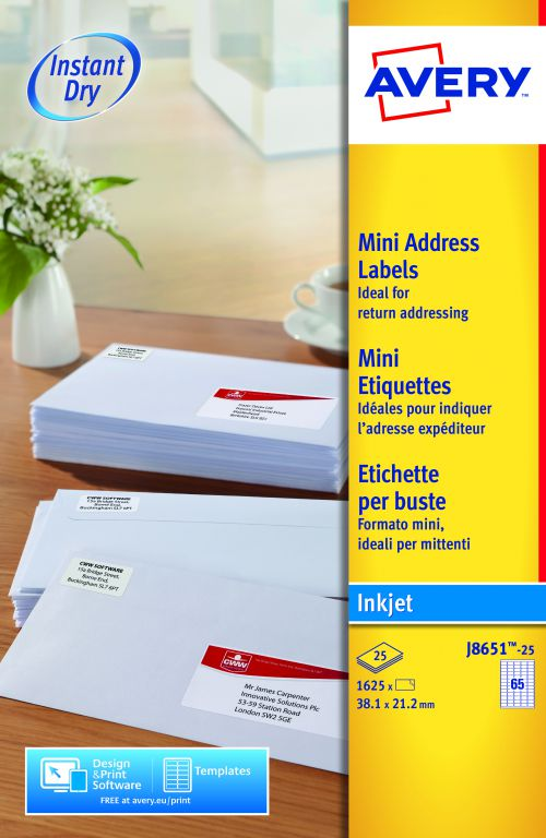 Avery Mini Address Labels Inkjet 65 per Sheet 38.1x21.2mm White Ref J8651-25 [1625 Labels]