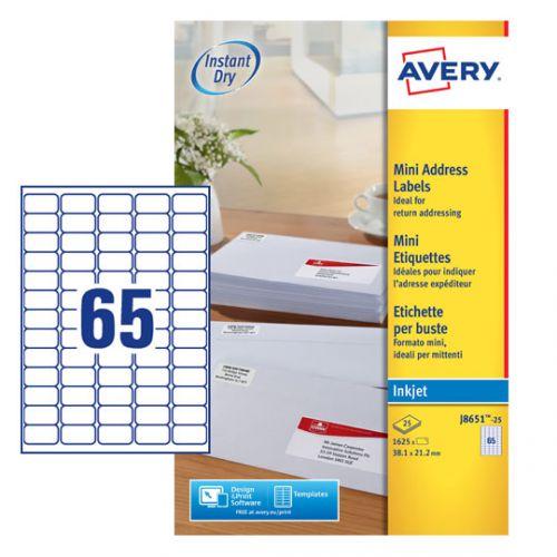 Avery Inkj Mini Label 38.1x21.2 65 P/Sheet Wht (Pack of 1625) J8651-25