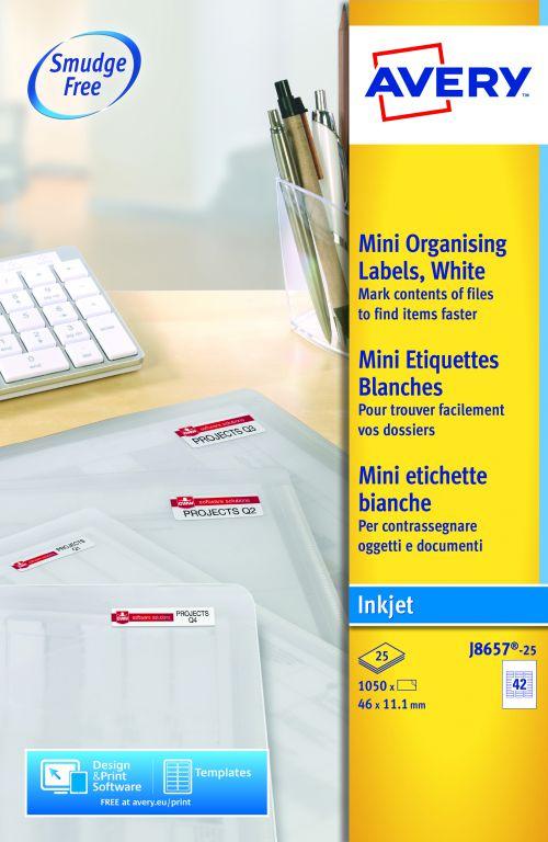 Avery White Mini Inkjet Label 46x11mm J8657-25 42 Per Sheet PK1050