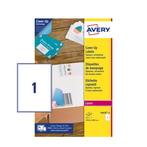 Avery L4610-25 Cover Up Labels - 199.6 x 289.1mm - 1 per Sheet - 25 Sheets - 25 Labels per pack