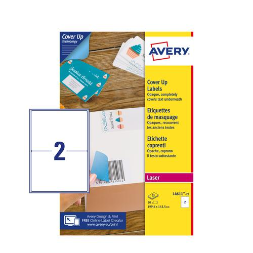 Avery L4611-25 Cover Up Labels - 199.6 x 143.5mm - 2 per Sheets - 25 Sheets - 50 Labels per pack