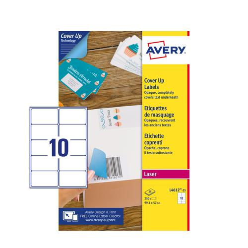 Avery L4612-25 Cover Up Labels - 99.1 x 57mm - 10 per sheet - 25 Sheets - 250 Labels per pack