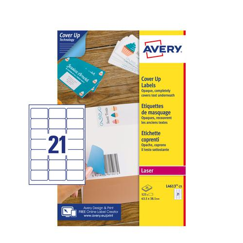 Avery L4613-25 Cover Up Labels - 63.5 x 38.1mm - 21 per Sheet - 25 Sheets - 525 Labels per pack
