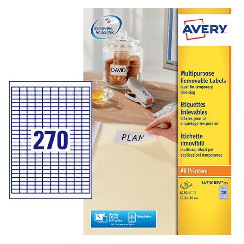 Avery Laser Mini Labels 270 per sheet White (Pack of 6750) L4730REV-25