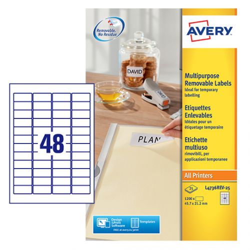 Avery Removable Labels 48 Per Sheet White (Pack of 1200) L4736REV-25 Small Labels AV10637