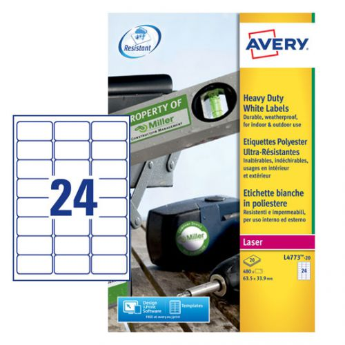 Avery Laser Label Heavy Duty 24 Per Sheet White (Pack of 480) L4773-20 AV10535
