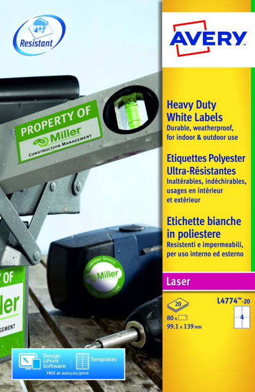 Avery Heavy Duty Labels Laser 4 per Sheet 99.1x139mm White Ref L4774-20 [80 Labels]