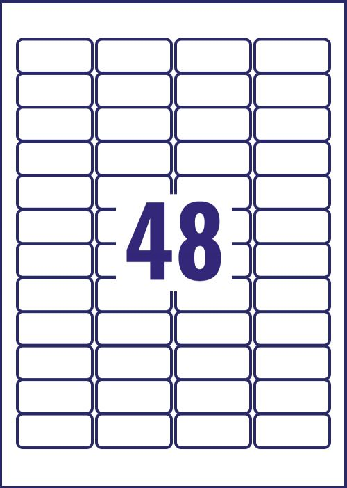 Avery Laser Label Heavy Duty 48 Per Sheet White (Pack of 960) L4778-20 Small Labels AV10536