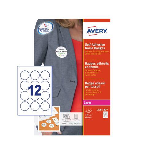 Avery Self-Adhesive Name Badges (Pack of 240) L4781-20 Visitors Badge AV13432