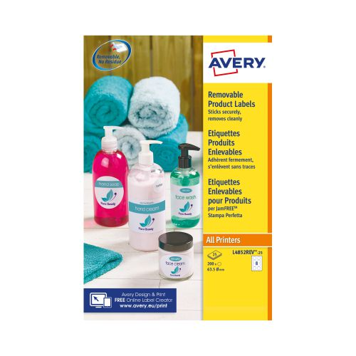 Avery L4852REV-25 Removable Round Labels, Ø63.5mm, Removable, 8 Labels Per Sheet, 200 Labels Per Pack