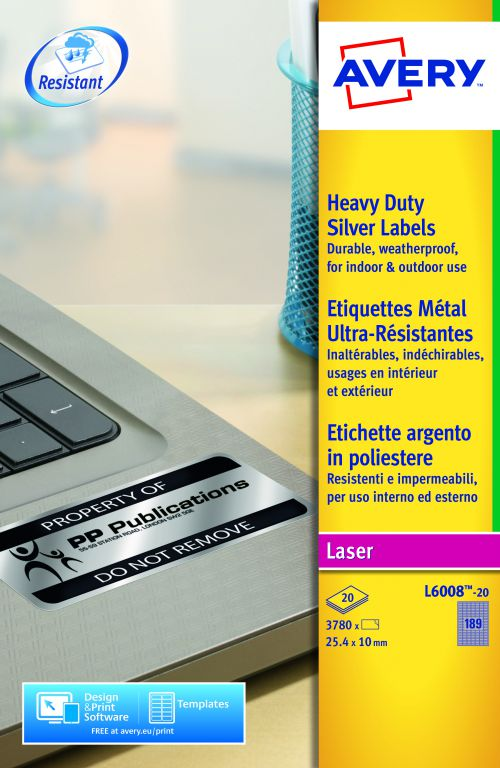 Avery Heavy Duty Labels Laser 189 per Sheet 25.4x10mm Silver Ref L6008-20 [3780 Labels]