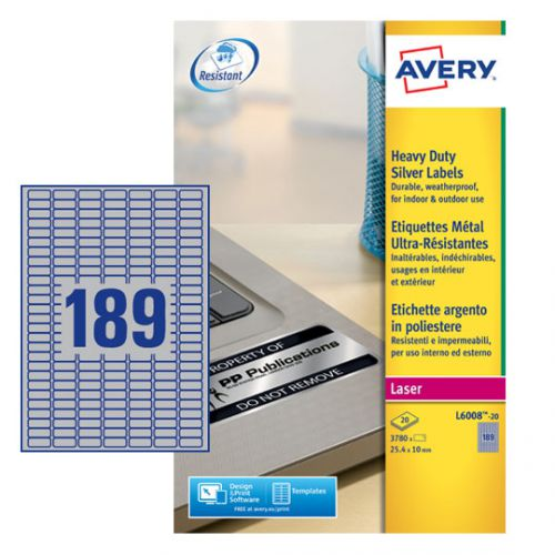 Avery Laser Label H/Duty 189 Per Sheet Silver (Pack of 3780) L6008-20