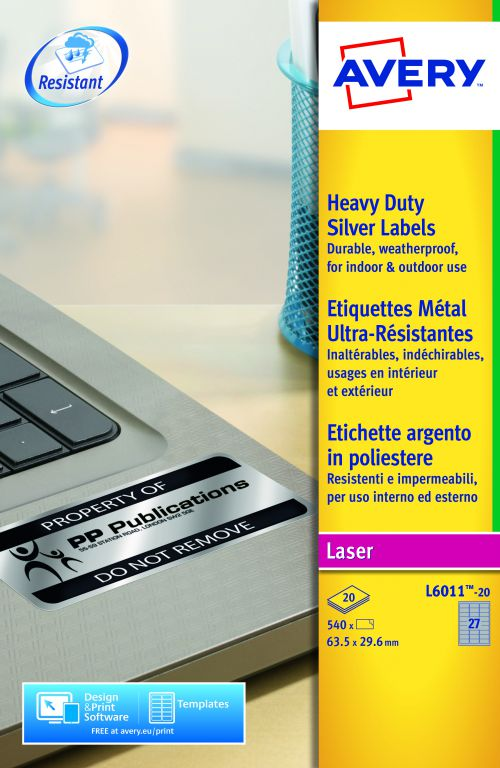 Avery Laser Label H/Duty 27 Per Sheet Silver (Pack of 540) L6011-20