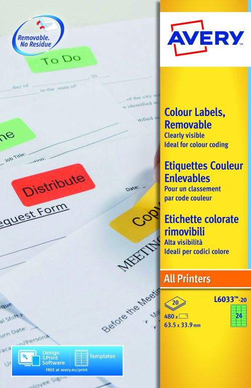Avery Coloured Labels 63.5x34mm Green L6033-20 24 Per Sheet PK480