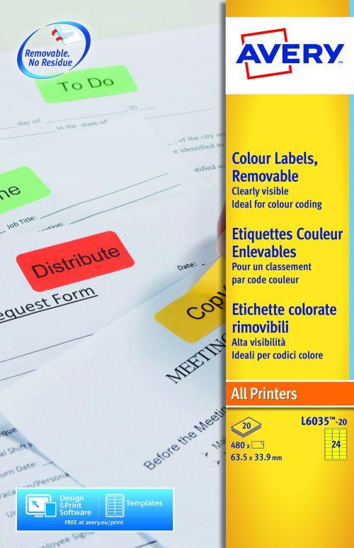 Avery Coloured Lbl 63.5x34mm Yellow L6033-20 24 p/sht PK480