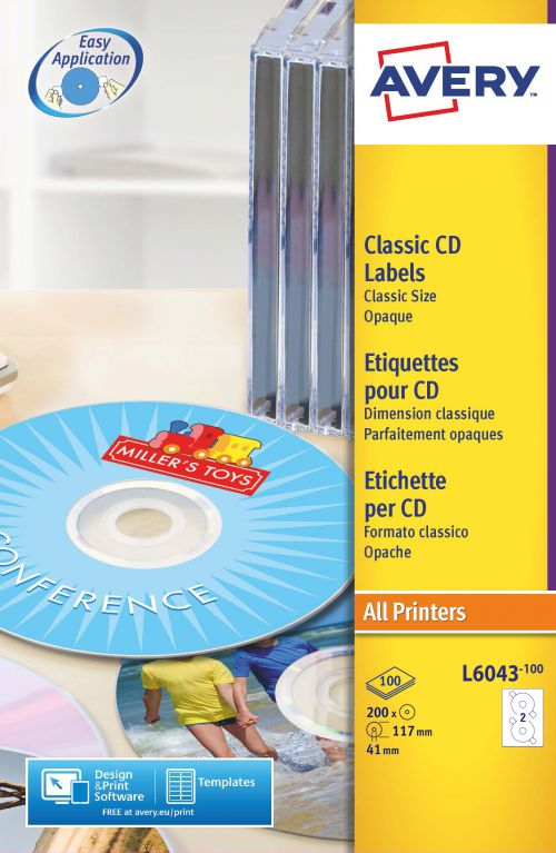 Avery Classic CD Labels 117mm Diameter L6043-100 2 Per Sheet PK200