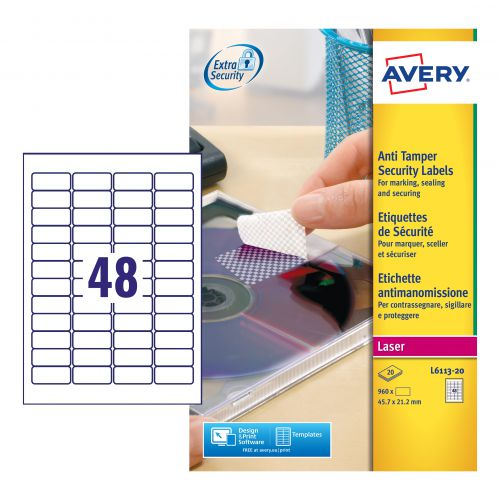 Avery Anti Tamper Laser Labels 48x20mm Sheets White Pack 20 Security Labels LA2107