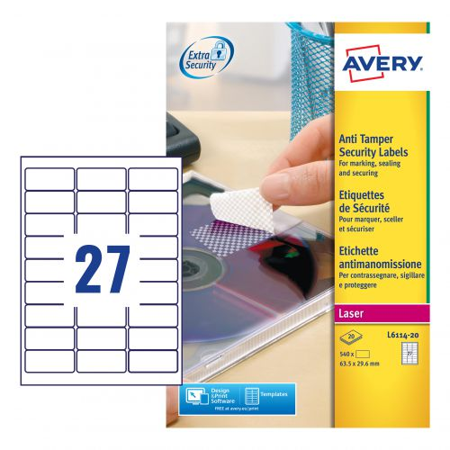 Avery Laser NoPeel Anti-Tamper Permanent Label 63x30mm 27 Per A4 Sheet White (Pack 540 Labels) L6114-20 Security Labels 43985AV
