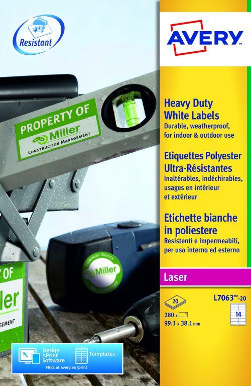 Avery Heavy Duty Labels Laser 14 per Sheet 99.1x38.1mm White Ref L7063-20 [280 Labels]