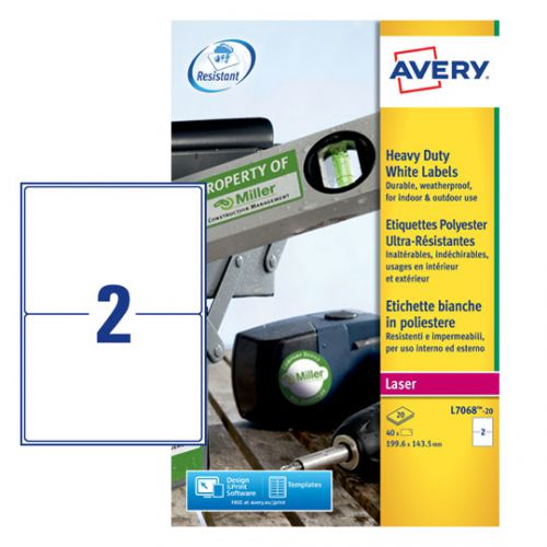Avery L7068-20 Resistant Labels, 199.6 x 143.5 mm, Permanent, 2 Labels Per Sheet, 40 Labels Per Pack