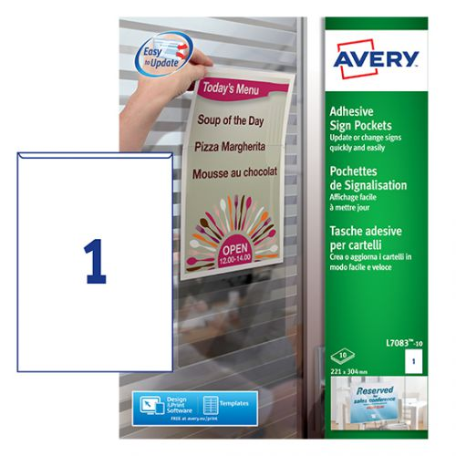 Avery Adhesive Sign Pockets A4 Transparent (Pack of 10) L7083-10 Sign Holders AV04848
