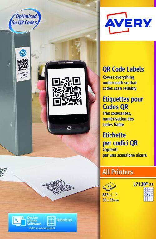 Avery L7120-25 QR Code Labels, 35 x 35 mm, Permanent, 35 Labels Per Sheet, 875 Labels Per Pack