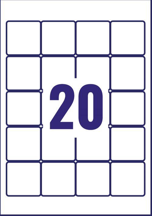 Avery L7121-25 QR Code Labels, 45 x 45 mm, Permanent, 20 Labels Per Sheet, 500 Labels Per Pack
