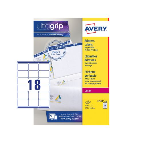 Avery Ultragrip Laser Labels 63.5x46.6mm White (Pack of 4500) L7161-250