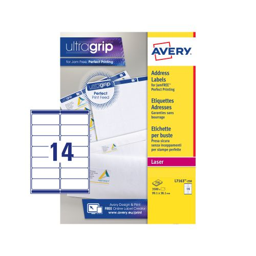 Avery Ultragrip Laser Label 99.1x38.1mm White (Pack of 3500) L7163-250
