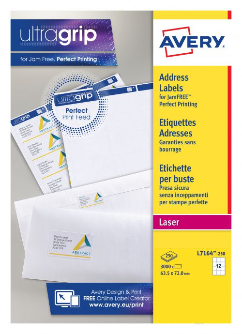 Avery Addressing Labels Laser Jam-free 12 per Sheet 63 5