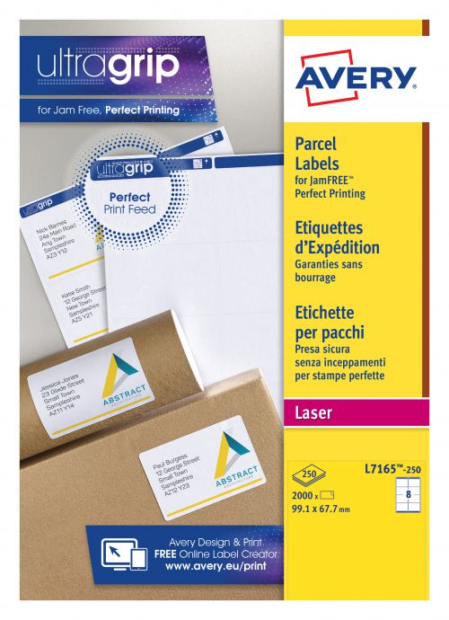 Avery Parcel Labels Laser Jam-free 8 per Sheet 99.1x67.7mm White Ref L7165-250 [2000 Labels]
