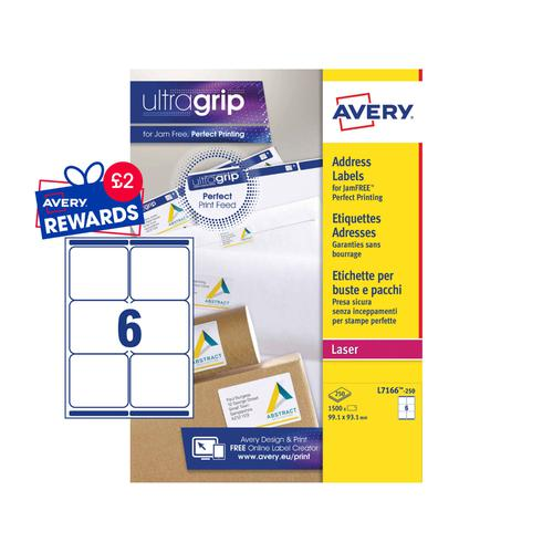 Avery Shipping Labels 99x93mm L7166-250 6 Per Sheet PK1500